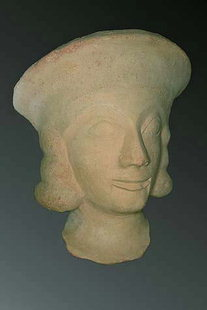 Head of a clay statue found near Sitia from the Daedalic period (7C B.C.)