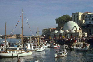 The celebration of January 6, at the harbour of Chania