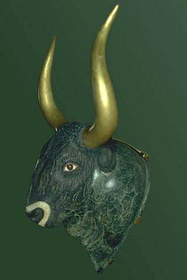Steatite rhyton in the shape of a bull's head, from the little palace at Knossos