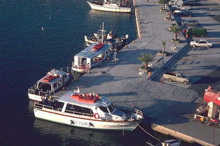 Along side docking in Agia Galini harbour