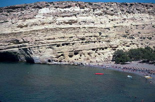 The caves and beach in Matala