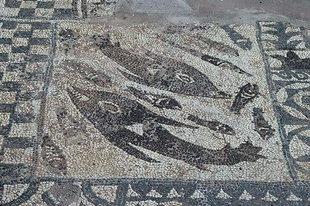 Mosaic floor in the basilica of Elounda