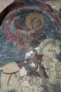 Fresko in der Sotiras Christos-Kirche in Temenia