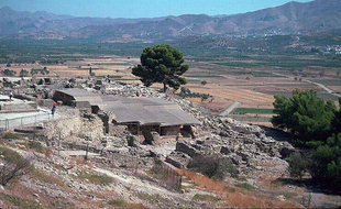 The Minoan palace of Festos overlooking the Mesara Plain
