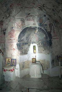 The interior of the church of Agios Georgios in Tzitzifes