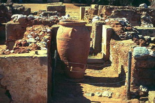 A giant pithos in the West Corridor, Malia