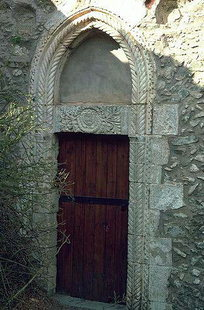 A detail of the portal of Agios Fanourios Church, Moni Varsamonero
