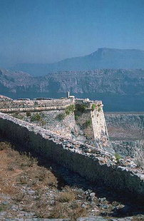 Außenwand von der Festung von Gramvousa
