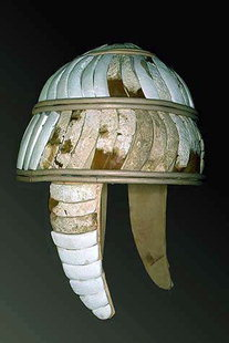Helmet made from boar's teeth