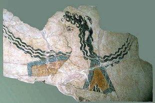 Une scène d'une fresque de Knossos