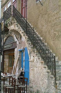 Characteristic Venetian stairs in the harbour, Chania