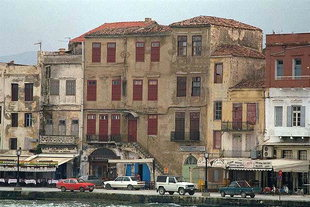 The houses in the harbour of Chania
