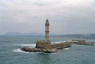 The Venetian lighthouse (faros) in the harbour of Chania