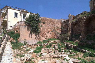 The Kastelli wall and a Minoan site in the Kastelli, Chania