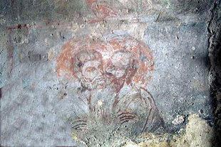 Une fresque des Saints Pierre et Paul dans l'église d'Agios Antonios à Avdou