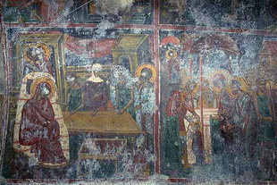 The frescoed interior of the Panagia Vriomeni Monastery church, Meseleri