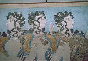 Tanzende Priesterin - Fresko von Knossos