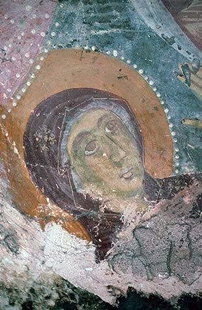 A fresco by Ioannis Pagomenos in Agios Nikolaos Church, Moni