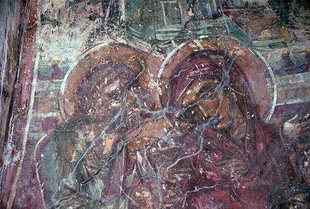 A fresco in the Panagia is an early example of the Cretan art style, Spilia