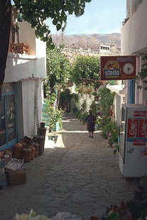 A narrow street in the village of Anogia