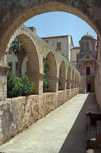 The cloister of the monastery, Moni Agias Triadas