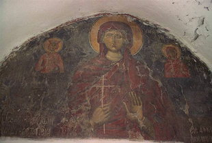 The fresco over the door of  Agia Paraskevi, Ziros