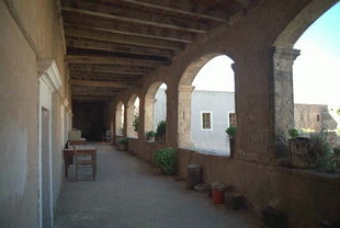 The cloister area of Arkadi Monastery
