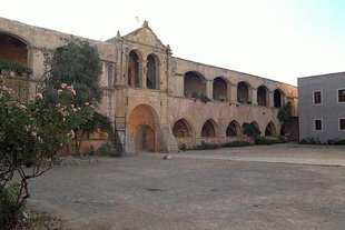 The entrance and the inner courtyard of the monastery, Moni Arkadiou