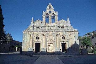 Die sehenswerte Fassade von der Arkadi-Klosterkirche