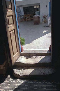 The worn doorstep of the Faneromeni Monastery church, Sitia