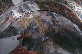The frescoed interior of Afentis Christos Church in Potamies