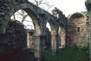 The ruins of the double nave Byzantine church of Michael Archangelos in Axos