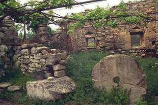 Remains used to make a wall in the village of Argiroupolis
