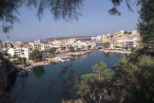 Voulismeni Lake and the fishing boat harbour, Agios Nikolaos
