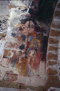Fresko in der byzantinischen Agios Pavlos-Kirche, Agia Roumeli