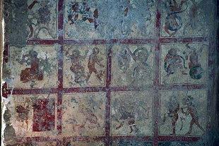 Fresko mit Darstellung der Hölle in der Agios Ioannis-Kirche in Axos