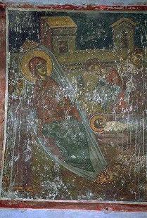 The Nativity fresco in Agios Ioannis Theologos Church in Margarites