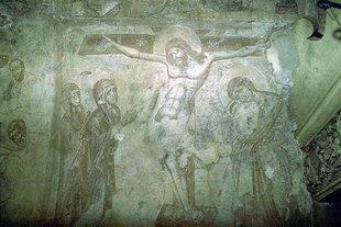 Fresko mit Kreuzigungsszene aus dem 24. Jhdt, Agios Antonios-Kirche, Avdou