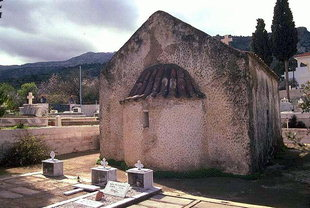The cemetery church of Agios Ioannis Prodromos with frescoes dated 1370, Kritsa