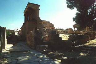 The North Entrance and the Lustral Basin to the right, Knossos