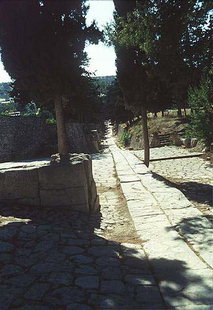 The ancient Minoan road leading out of the palace towards the town, Knossos