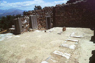 The reception hall and the door to the Archives Room, Agia Triada
