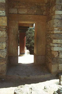 The reconstructed doorway, Knossos