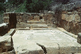 The mosaic floor of the temple of Asklipios, Lissos