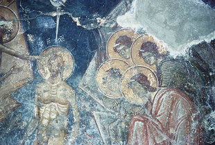 The Christ's Baptism fresco in the Panagia Church in Lambiotes