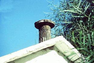 An ancient pillar as decoration on Michael Archangelos Church, Meskla