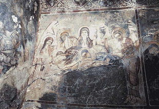 The Entombment of Christ fresco in Sotiras Christos Church, Kefali
