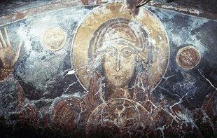 Fresko der Jungfrau Maria in der Panagia-Kirche, Kadros