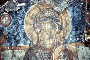 A fresco of the Virgin Mary in the Panagia Church, Kadros
