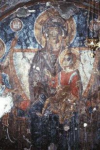 Fresko aus dem 14. Jhdt. in der Panagia-Kirche, Kadros